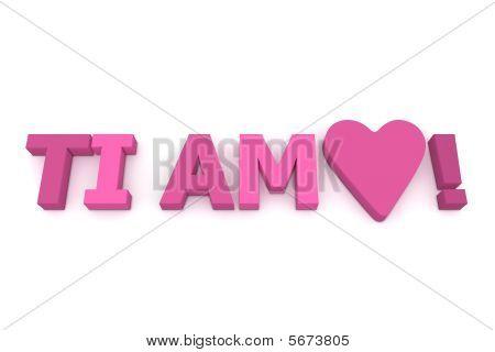 TI Amo com coração em rosa/roxo