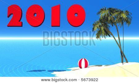 New year 2010 on a island