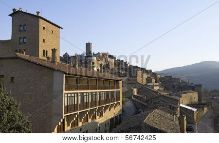 view at sunset of the town of Sos del Rey Catolico, in the foreground stands the Parador Nacional de Turismo, Zaragoza, Aragon, Spain