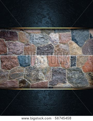 Blue background with a stone wall nameplate.
