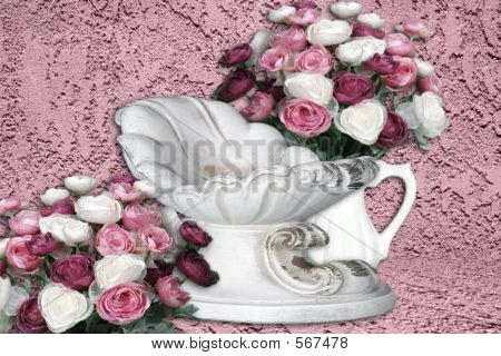 Pink Floral Roses Surrounding Infant Cradle