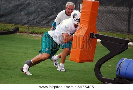 Football Player on a Blocking Sled