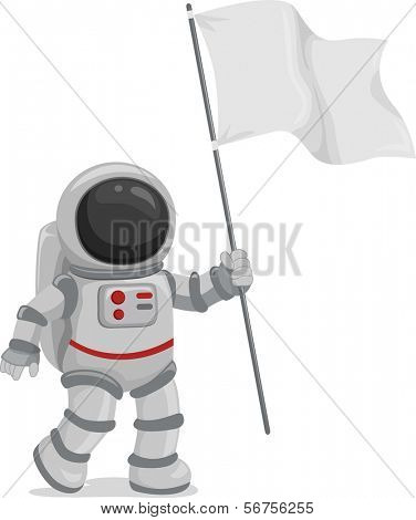 Illustration of an Astronaut Wearing a Blank Flag