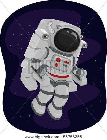 Illustration of an Astronaut Using a Propulsion Unit to Maneuver His Way in Space