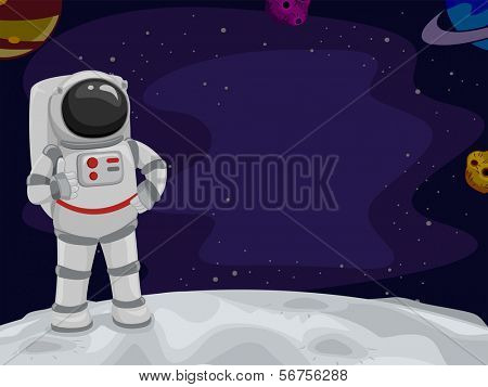 Illustration of an Astronaut Giving a Thumbs Up from Space