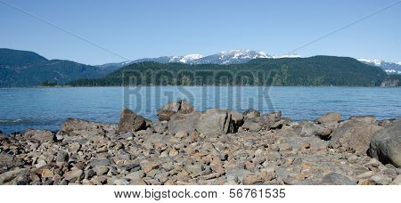 Pebbles peaks and lake water at Green Point Sasquatch Provincial Park