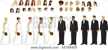 Bride and Groom figure Vectors, 12 different hair styles for male and female, different skin tones, 5 dress styles, very interchangeable, for any combination