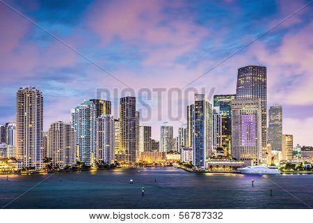 Miami, Florida skyline at Brickell Key and Miami River. poster