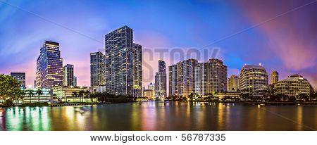 Skyline of Miami, Florida, USA at Brickell Key and Miami River.