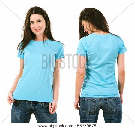 Brunette With Blank Light Blue Shirt