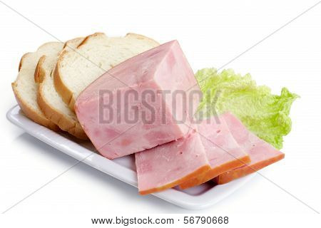 Ham And White Bread On A Plate