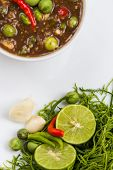 Chili paste with a mixture of herbs Thailand. poster
