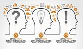 Background infographics with human heads, business icons and text. Business concept - the problem, the idea and success. The file is saved in the version AI10 EPS. This image contains transparency. poster