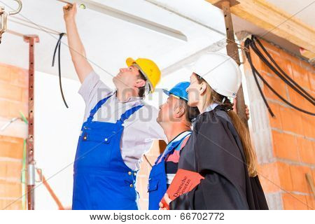 Reviewer or expert or lawyer and builder or worker with helmets controlling a construction or building site to report defect or fault or deficiency in a protocol poster