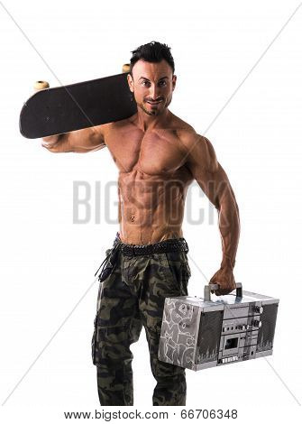 Shirtless Muscular Man With Skateboard And Boombox Radio