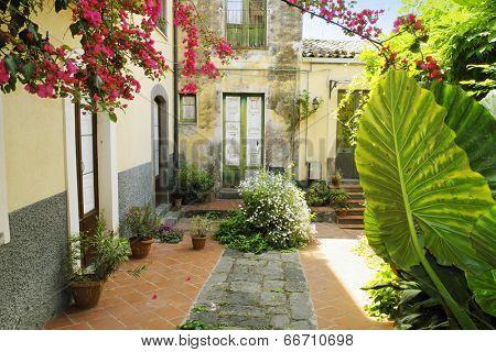 picturesque corner in Old Adrano, Sicily