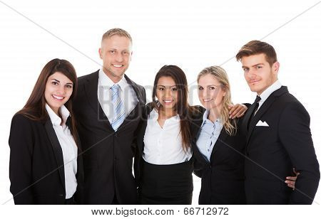 Portrait Of Businesspeople Against White Background
