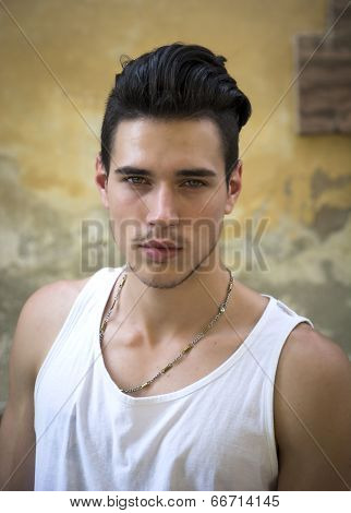 Headshot Of Attractive Young Man Outside