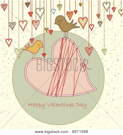 Valentine Greeting With Cute Birds