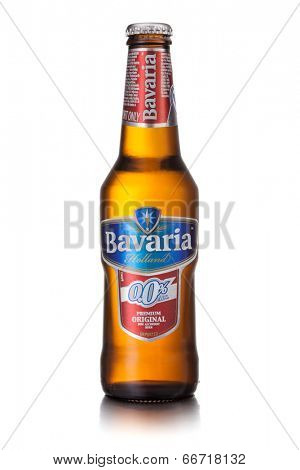 Kiev, Ukraine - april 1, 2013: Photo of Bavaria Holland non alchohol beer bottle isolated on white. Product shot