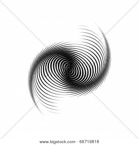 Design monochrome swirl motion background. Abstract lines torsion backdrop. Decor element. Vector-art illustration poster