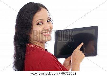 Smiling Beautiful Young Woman With Tablet Computer