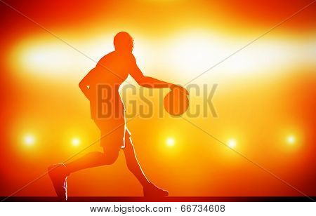 Basketball player silhouette dribbling with ball on red background with action lights poster