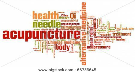 poster of Acupuncture alternative medicine issues and concepts word cloud illustration. Word collage concept.