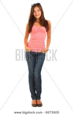 Full Length Beautiful Woman Isolated