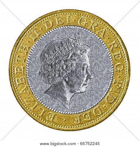 Close Up Of A Uk Two Pound Coin
