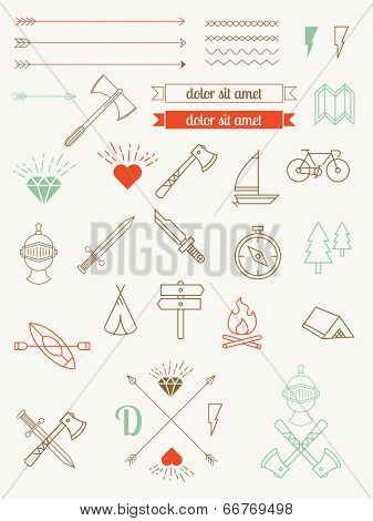 set of vector icons, characters, items, badges hipster style. Vintage Bundle