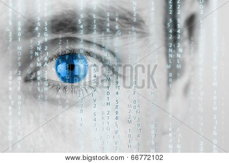 Futuristic Image With Matrix Texture