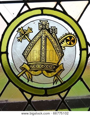 Stained glass window in St Paul's Anglican church