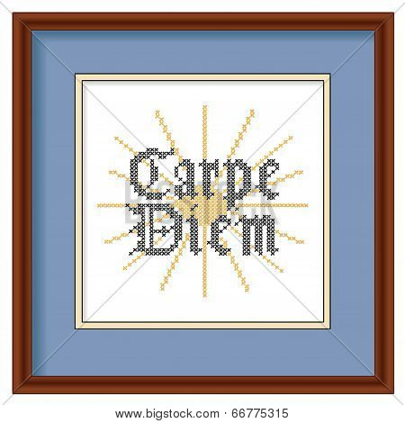 Carpe Diem Cross Stitch Embroidery on Wood Picture Frame