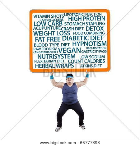 Fat Man Lifting A Billboard