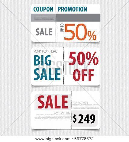 Sale Coupon, voucher, tag. Vector Template Design.