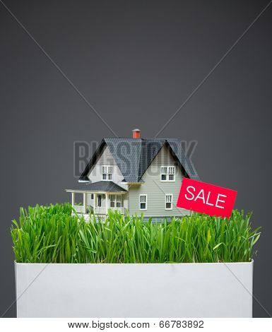 Close up of home model with green grass and sale tablet on grey background. Concept of realty and sales
