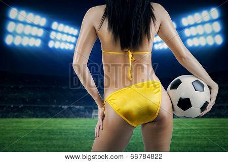Woman Supporter At Soccer Stadion
