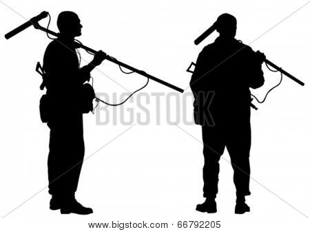 Silhouette of a soldier sapper with equipment on a white background