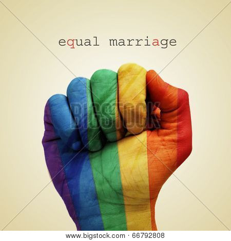 text equal marriage and a man hand patterned with the rainbow flag on a beige background poster