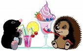 cartoon mole and hedgehog eating sweet desserts, isolated image for little kids poster
