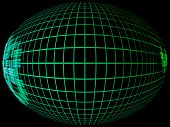 Green abstract globe silhouette with meridians grid in darkness.Digitally generated image. poster