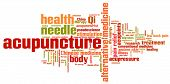 Acupuncture alternative medicine issues and concepts word cloud illustration. Word collage concept. poster