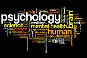 Psychology issues and concepts word cloud illustration. Word collage concept. poster