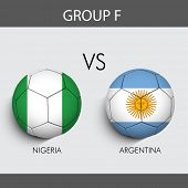 Group F Match Nigeria v/s Argentina countries flags poster