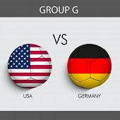 Group G Match U.S.A v/s Germany countries flags poster
