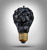 Garbage management solutions concept with a group of black trash bags shaped as a light bulb as a symbol and icon of environmental damage and recycling waste issues. poster