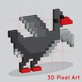 Cartoon Duck. Pixel Art for you design poster