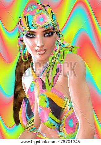 Colorful Retro Outfit and Silk Head Scarf.