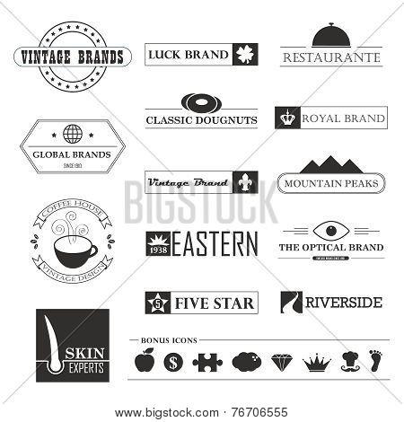 Set of Vintage brands and logo design elements